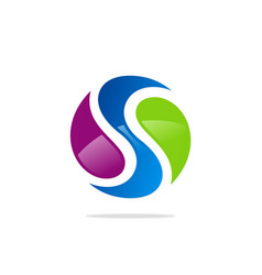 Round letter s colored logo vector