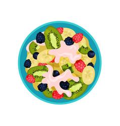 salad made of kiwi banana ripe berries and vector image