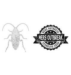 Scratched mers outbreak ribbon seal stamp and mesh vector