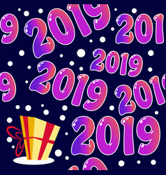 seamless 2019 pattern with present vector image