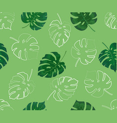 seamless pattern monstera leaves in color and vector image