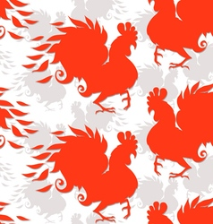 Seamless pattern with roosters The symbol of the vector image