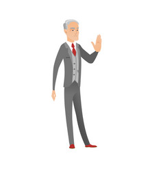 Senior caucasian businessman showing palm hand vector