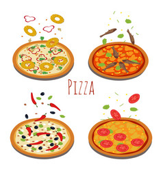 Set of different pizzas with falling ingredients vector
