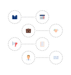 Set of job icons flat style symbols with letter vector