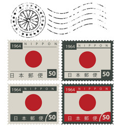 Set of old postage stamps with japan flag vector