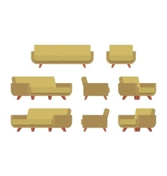 Set of retro sofa and armchair vector image vector image