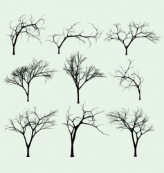 Set of silhouettes of trees vector