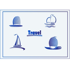 Set of symbols yachts ships vector image