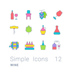 Set simple line icons wine vector