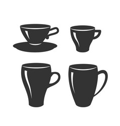 set tea and coffee cups various vector image
