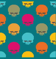 skull pixel art seamless pattern head of skeleton vector image