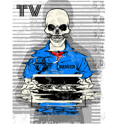 Skull prison tee poster graphic design vector