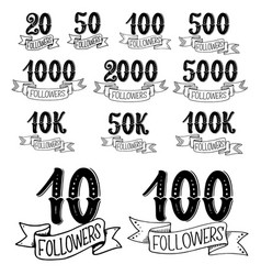 social net follower numbers lettering vector image
