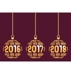 Spanish New Year elements for years 2016-2018 vector image