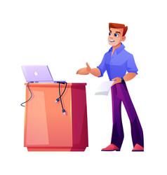 speaker podium coach or teacher businessman vector image
