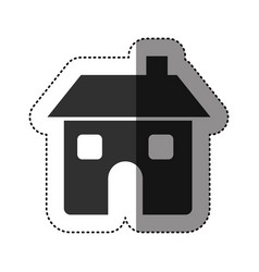 Sticker of black silhouette of house two floors vector