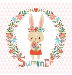Summer background with cute bunny vector