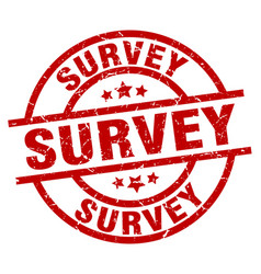 Survey round red grunge stamp vector