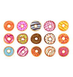 sweet tasty donut set isolated on white background vector image