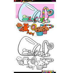 sweets and candies group coloring book vector image