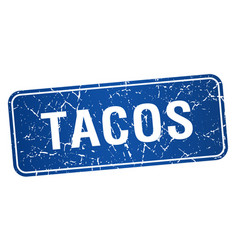 Tacos blue square grunge textured isolated stamp vector