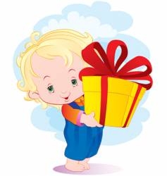 The kid with a gift vector