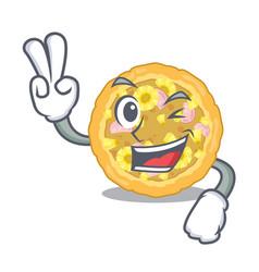 Two finger hawaiian pizza in mascot shape vector