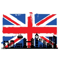 UK flag and silhouettes vector image