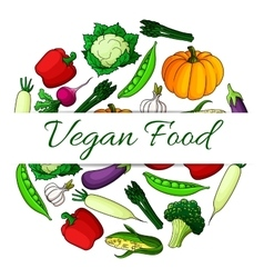 Vegan food emblem with round shape of vegetables vector image