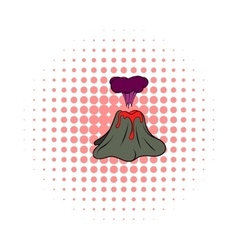 Volcano erupting icon comics style vector