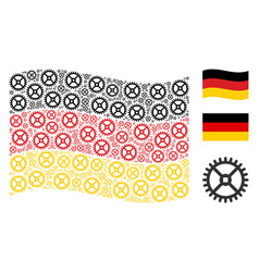 waving german flag collage of clock gear items vector image