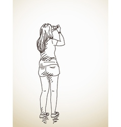 Woman taking photo vector