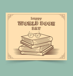 World book day with stack books vector