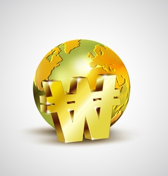World economic concept with 3d gold world and Won vector