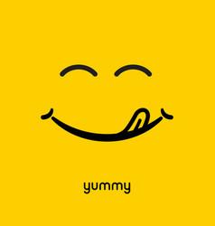 Yummy face smile delicious icon logo yummy tongue vector