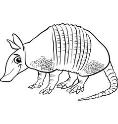 armadillo animal cartoon coloring page vector image vector image