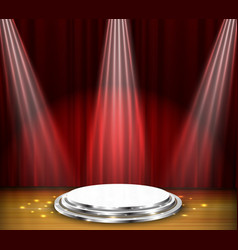 empty stage with red curtain and spotlight vector image