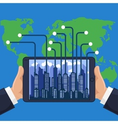 Futuristic city in modern device phone vector image