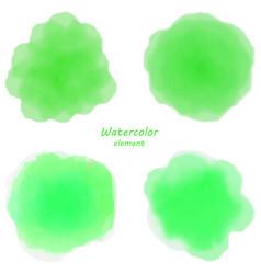 green watercolor blotch set of green watercolor vector image