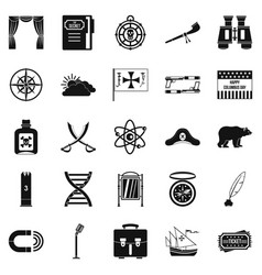 pirates icons set simple style vector image