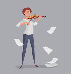 the young man is playing the violin vector image
