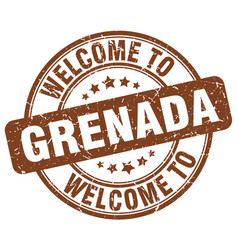 Welcome to grenada brown round vintage stamp vector