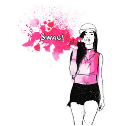 a girl in a cap with an electronic cigarette vector image vector image