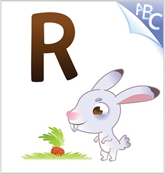 Animal alphabet for the kids R for the Rabbit vector image