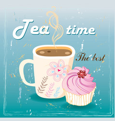 Delicious tea and cake vector image vector image