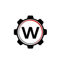 gear solution logo letter w vector image vector image