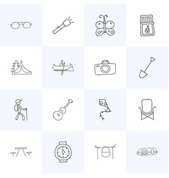 set of 16 editable travel icons includes symbols vector image vector image
