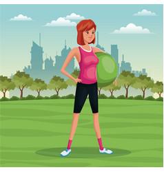 woman sport park urban image vector image vector image