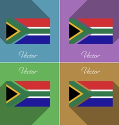 Flags South Afreica Set of colors flat design and vector image
